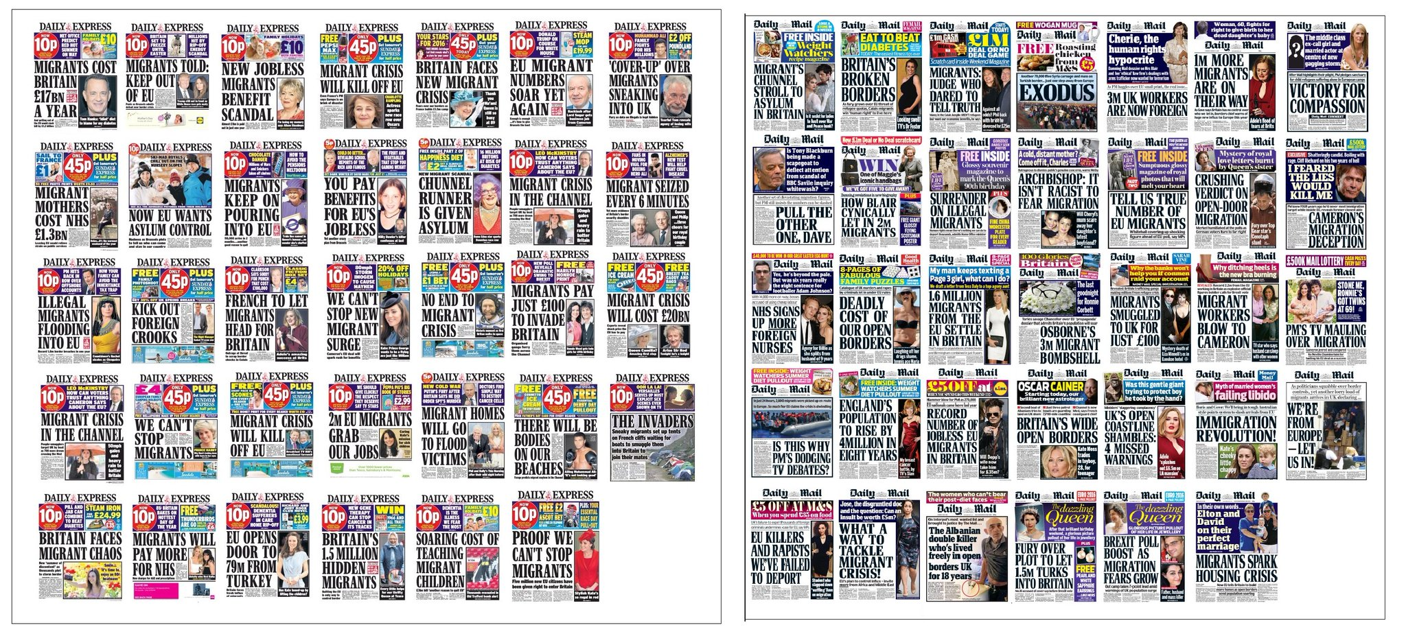 A collage of anti-EU, anti-migrant front pages from UK newspapers.