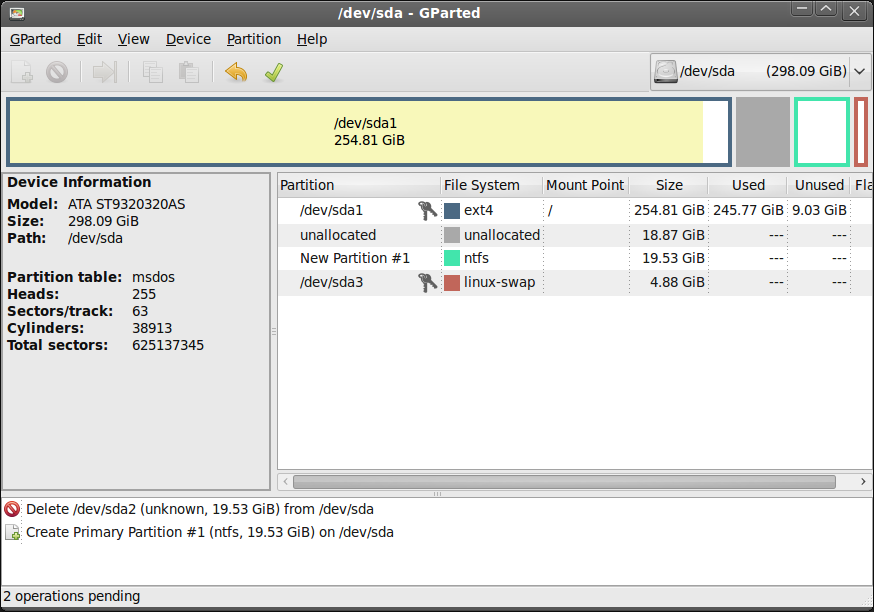 A screenshot of gparted, showing some unallocated space.